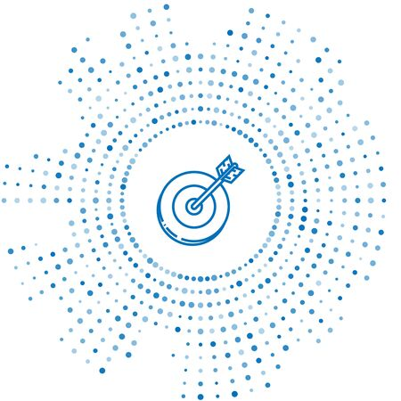 Blue line Target icon isolated on white background. Investment target icon. Successful business concept. Cash or Money sign. Abstract circle random dots. Vector Illustration