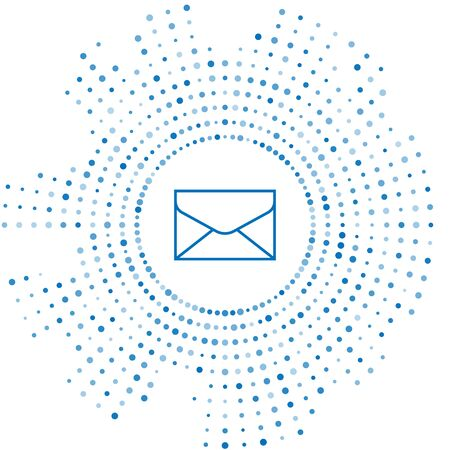 Blue line Envelope icon isolated on white background. Email message letter symbol. Abstract circle random dots. Vector Illustration