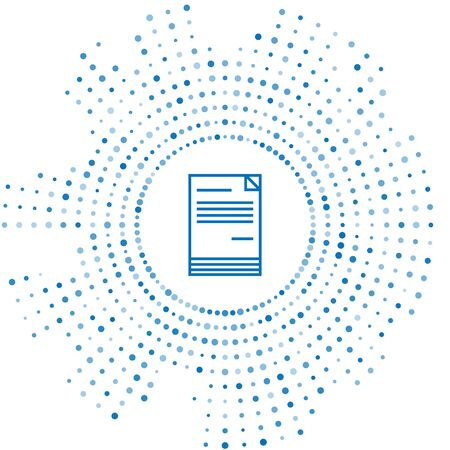 Blue line Document icon isolated on white background. File icon. Checklist icon. Business concept. Abstract circle random dots. Vector Illustration