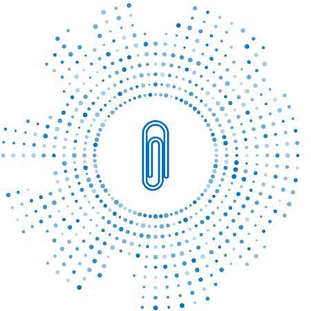 Blue line Paper clip icon isolated on white background. Abstract circle random dots. Vector Illustration