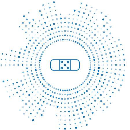 Blue line Bandage plaster icon isolated on white background. Medical plaster, adhesive bandage, flexible fabric bandage. Abstract circle random dots. Vector Illustration