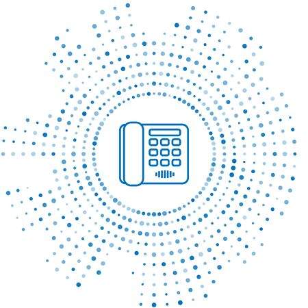 Blue line Telephone icon isolated on white background. Landline phone. Abstract circle random dots. Vector Illustration Çizim