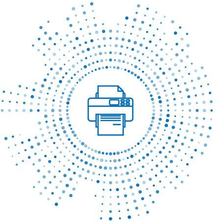 Blue line Printer icon isolated on white background. Abstract circle random dots. Vector Illustration Çizim