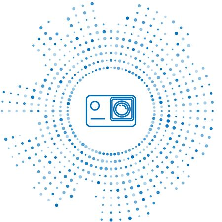 Blue line Action extreme camera icon isolated on white background. Video camera equipment for filming extreme sports. Abstract circle random dots. Vector Illustration Illusztráció