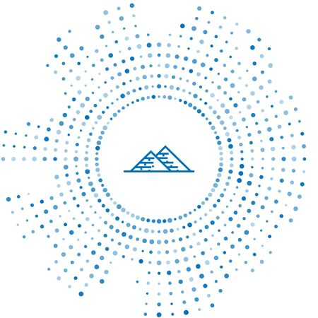 Blue line Egypt pyramids icon isolated on white background. Symbol of ancient Egypt. Abstract circle random dots. Vector Illustration  イラスト・ベクター素材