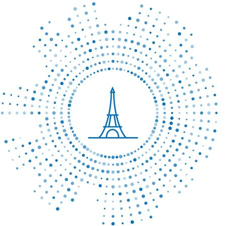 Blue line Eiffel tower icon isolated on white background. France Paris landmark symbol. Abstract circle random dots. Vector Illustration