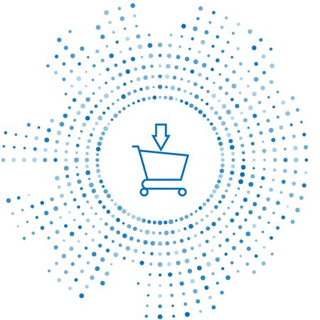 Blue line Add to Shopping cart icon isolated on white background. Online buying concept. Delivery service sign. Supermarket basket symbol. Abstract circle random dots. Vector Illustration Çizim