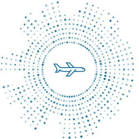Blue line Plane icon isolated on white background. Flying airplane icon. Airliner sign. Abstract circle random dots. Vector Illustration