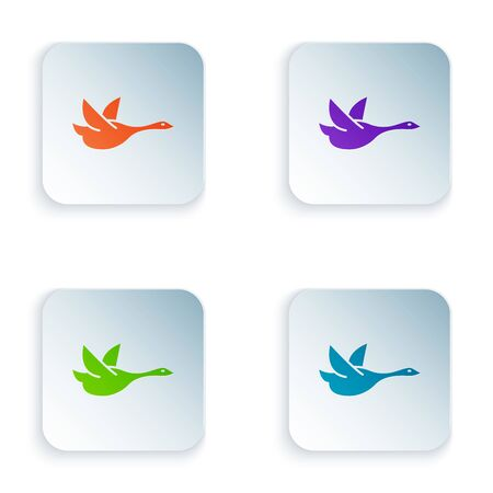 Color Flying duck icon isolated on white background. Set icons in colorful square buttons. Vector Illustration