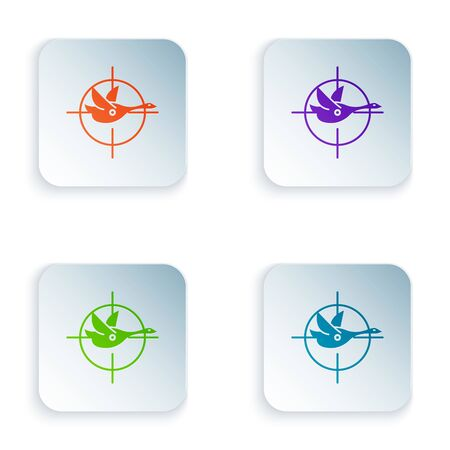 Color Hunt on duck with crosshairs icon isolated on white background. Hunting club with duck and target. Rifle lens aiming a duck. Set icons in colorful square buttons. Vector Illustration Ilustrace