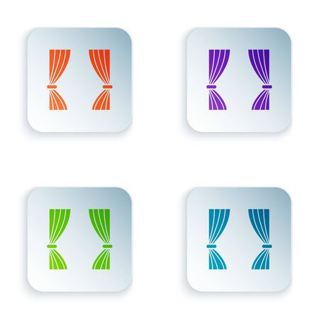 Color Curtain icon isolated on white background. For theater scene backdrop, concert grand opening or cinema premiere. Set icons in colorful square buttons. Vector Illustration  イラスト・ベクター素材