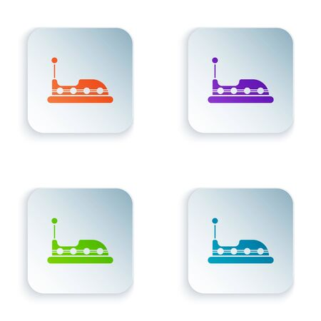 Color Bumper car icon isolated on white background. Amusement park. Childrens entertainment playground, recreation park. Set icons in colorful square buttons. Vector Illustration Illustration