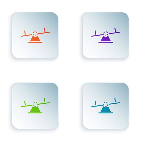 Color Seesaw icon isolated on white background. Teeter equal board. Playground symbol. Set icons in colorful square buttons. Vector Illustration