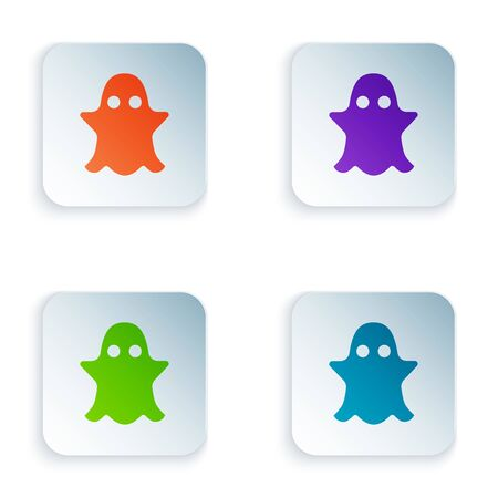 Color Ghost icon isolated on white background. Set icons in colorful square buttons. Vector Illustration