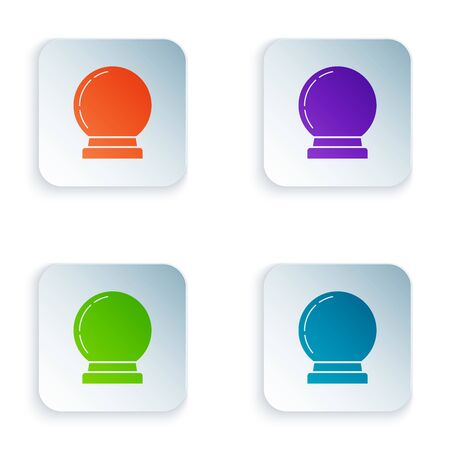 Color Magic ball icon isolated on white background. Crystal ball. Set icons in colorful square buttons. Vector Illustration