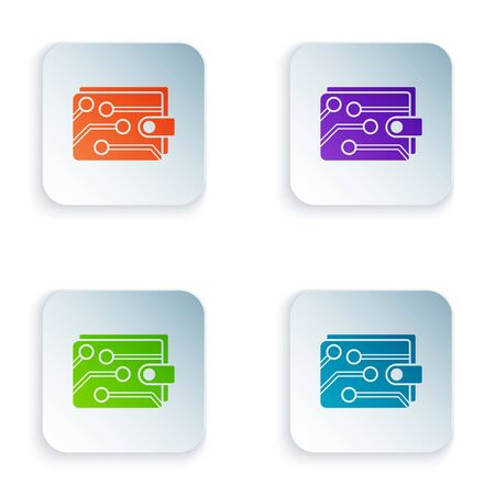 Color Cryptocurrency wallet icon isolated on white background. Wallet and bitcoin sign. Mining concept. Money, payment, cash, pay icon. Set icons in colorful square buttons. Vector Illustration Çizim