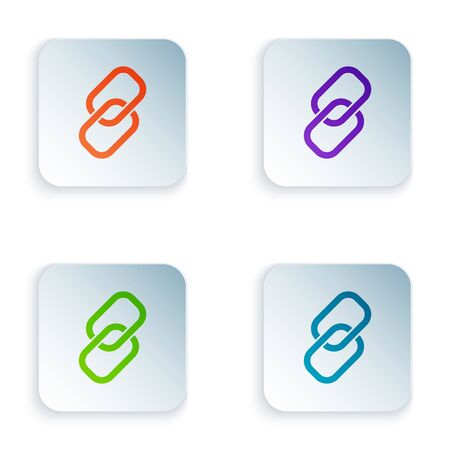 Color Chain link icon isolated on white background. Link single. Hyperlink chain symbol. Set icons in colorful square buttons. Vector Illustration