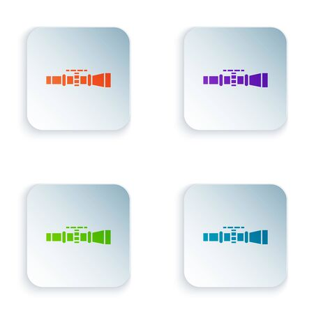 Color Sniper optical sight icon isolated on white background. Sniper scope crosshairs. Set icons in colorful square buttons. Vector Illustration