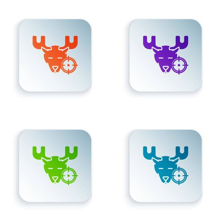 Color Hunt on moose with crosshairs icon isolated on white background. Hunting club with moose and target. Rifle lens aiming a moose. Set icons in colorful square buttons. Vector Illustration Illusztráció