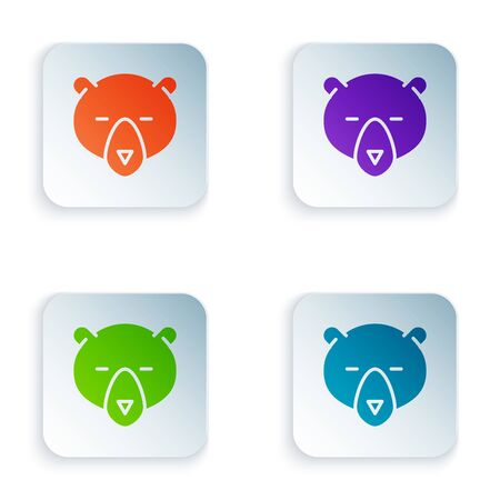 Color Bear head icon isolated on white background. Set icons in colorful square buttons. Vector Illustration Stock Illustratie