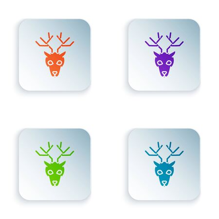 Color Deer head with antlers icon isolated on white background. Set icons in colorful square buttons. Vector Illustration Ilustração