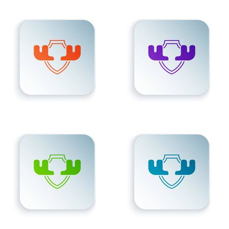 Color Moose horns on shield icon isolated on white background. Hunting trophy on wall. Set icons in colorful square buttons. Vector Illustration