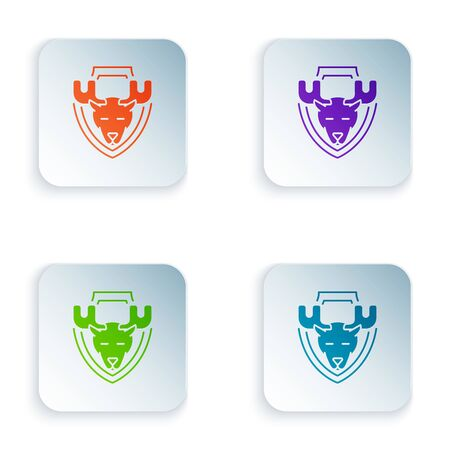 Color Moose head on shield icon isolated on white background. Hunting trophy on wall. Set icons in colorful square buttons. Vector Illustration