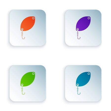 Color Fishing spoon icon isolated on white background. Fishing baits in shape of fish. Fishing tackle. Set icons in colorful square buttons. Vector Illustration Illustration