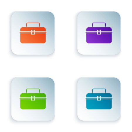Color Case or box container for wobbler and gear fishing equipment icon isolated on white background. Fishing tackle. Set icons in colorful square buttons. Vector Illustration