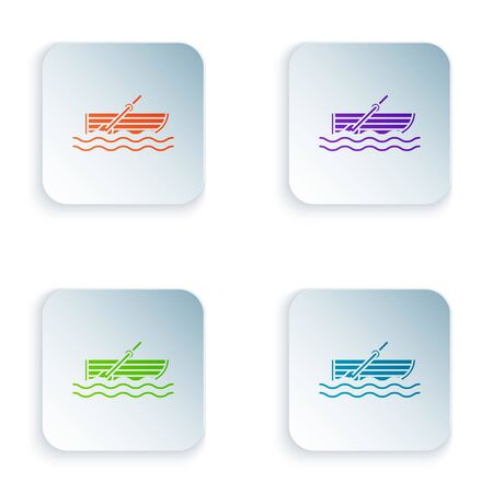 Color Fishing boat with oars on water icon isolated on white background. Set icons in colorful square buttons. Vector Illustration