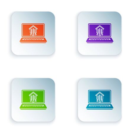 Color Laptop with smart home icon isolated on white background. Remote control. Set icons in colorful square buttons. Vector Illustration