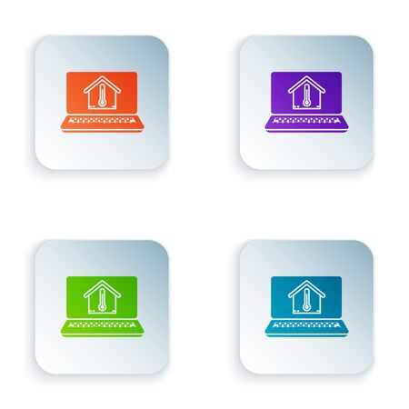 Color Laptop with house temperature icon isolated on white background. Thermometer icon. Set icons in colorful square buttons. Vector Illustration