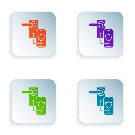 Color Digital door lock with wireless technology for lock icon isolated on white background. Door handle sign. Security smart home. Set icons in colorful square buttons. Vector Illustration Foto de archivo - 129502820