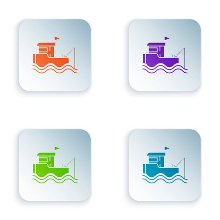 Color Fishing boat with fishing rod on water icon isolated on white background. Set icons in colorful square buttons. Vector Illustration Ilustração