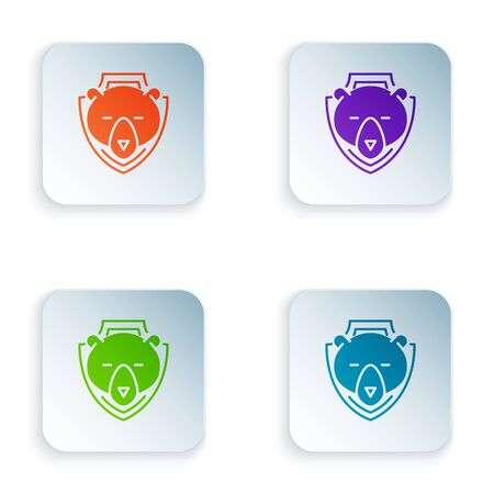 Color Bear head on shield icon isolated on white background. Hunting trophy on wall. Set icons in colorful square buttons. Vector Illustration Vettoriali