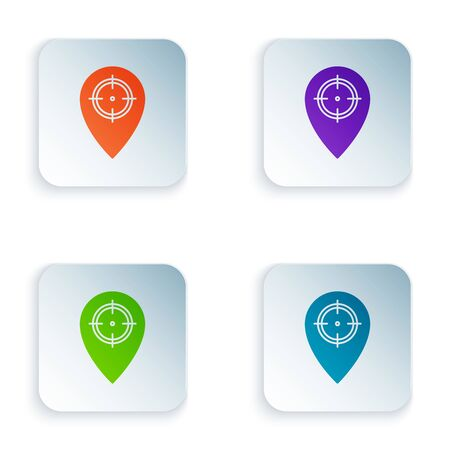 Color Hunt place icon isolated on white background. Navigation, pointer, location, map, gps, direction, place, compass, contact, search. Set icons in colorful square buttons. Vector Illustration