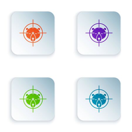 Color Hunt on bear with crosshairs icon isolated on white background. Hunting club with bear and target. Rifle lens aiming a bear. Set icons in colorful square buttons. Vector Illustration