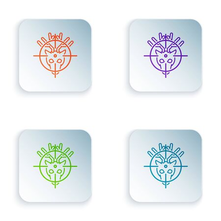 Color Hunt on deer with crosshairs icon isolated on white background. Hunting club with deer and target. Rifle lens aiming a deer. Set icons in colorful square buttons. Vector Illustration Illusztráció