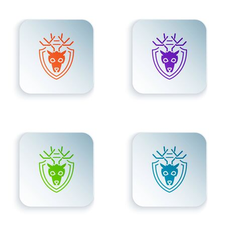 Color Deer head with antlers on shield icon isolated on white background. Hunting trophy on wall. Set icons in colorful square buttons. Vector Illustration