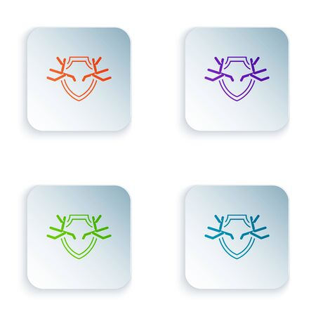 Color Deer antlers on shield icon isolated on white background. Hunting trophy on wall. Set icons in colorful square buttons. Vector Illustration Illusztráció