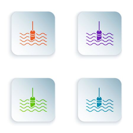 Color Fishing float in water icon isolated on white background. Fishing tackle. Set icons in colorful square buttons. Vector Illustration