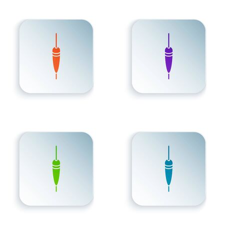 Color Fishing float icon isolated on white background. Fishing tackle. Set icons in colorful square buttons. Vector Illustration