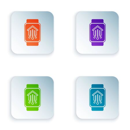 Color Smart home with smart watch icon isolated on white background. Remote control. Set icons in colorful square buttons. Vector Illustration