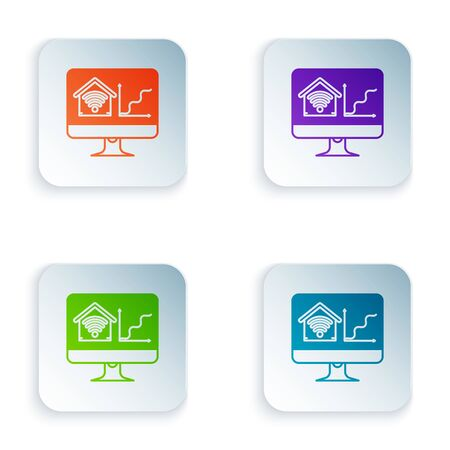 Color Computer monitor with smart home with wifi icon isolated on white background. Remote control. Set icons in colorful square buttons. Vector Illustration