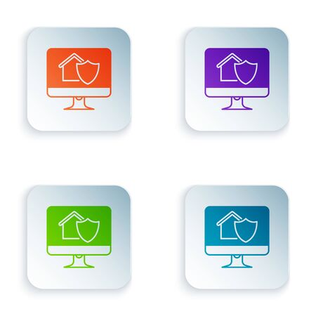 Color Computer monitor with house under protection icon isolated on white background. Protection, safety, security, protect, defense concept. Set icons in colorful square buttons. Vector Illustration Stockfoto - 129502875