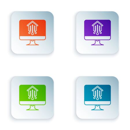 Color Computer monitor with smart home icon isolated on white background. Remote control. Set icons in colorful square buttons. Vector Illustration