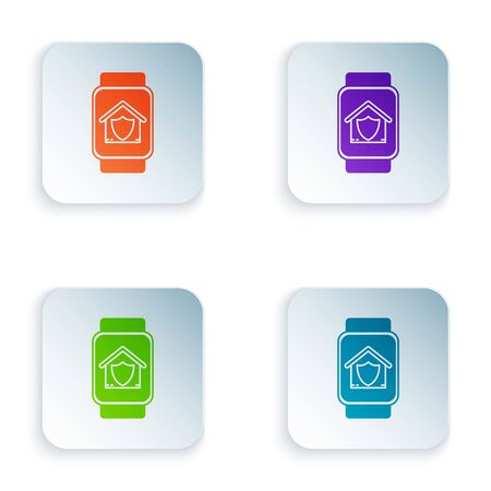 Color Smart watch with house under protection icon isolated on white background. Protection, safety, security, protect, defense concept. Set icons in colorful square buttons. Vector Illustration