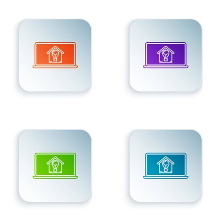 Color Laptop with smart house and light bulb icon isolated on white background. Set icons in colorful square buttons. Vector Illustration 向量圖像