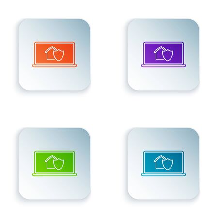 Color Laptop with house under protection icon isolated on white background. Protection, safety, security, protect, defense concept. Set icons in colorful square buttons. Vector Illustration Stockfoto - 129528136