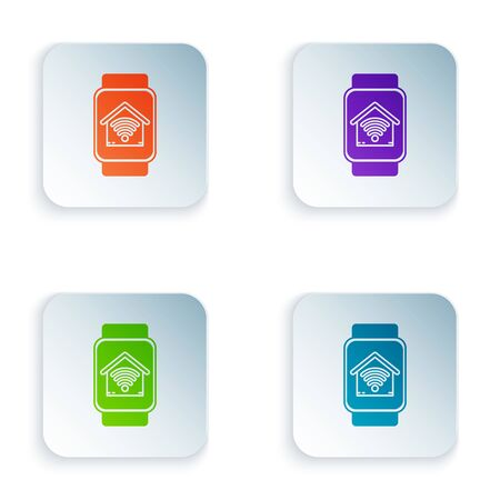 Color Smart watch with smart home with wifi icon isolated on white background. Remote control. Set icons in colorful square buttons. Vector Illustration